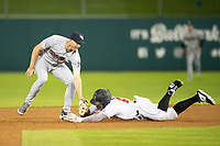 Brad Miller (4) of the Scranton/Wilkes-Barre RailRiders applies a tag to Indianapolis Indians baserunner JB Shuck (15) at Victory Field on May 14, 2019 in Indianapolis, Indiana. The Indians defeated the RailRiders 4-2. (Andrew Woolley/Four Seam Images)
