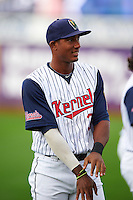 Cedar Rapids Kernels outfielder Edgar Corcino (36) warms up before a game against the Kane County Cougars on August 18, 2015 at Perfect Game Field in Cedar Rapids, Iowa.  Kane County defeated Cedar Rapids 1-0.  (Mike Janes/Four Seam Images)