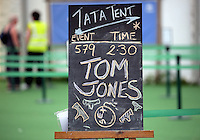 Hay on Wye. Sunday 05 June 2016<br />The Tom Jones announcement outside the Tata tent at the Hay Festival, Hay on Wye, Wales, UK