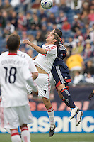 Chicago Fire midfielder Logan Pause (7) and New England Revolution defender Jay Heaps (6) battle for head ball. The New England Revolution out scored the Chicago Fire, 2-1, in Game 1 of the Eastern Conference Semifinal Series at Gillette Stadium on November 1, 2009.