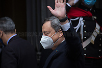 Rome, Italy. 17th Feb, 2021. The Italian Prime Minister and former President of the European Central Bank, BCE, Professor Mario Draghi, arrives at the Senate of the Italian Republic asking the Senators the vote of confidence (Voto di fiducia) for the new Italian Government.<br /> <br /> Footnotes & Links:<br /> 13.02.2021 - Mario Draghi's New Italian Government Swears At Quirinale Palace: https://lucaneve.photoshelter.com/gallery/13-02-2021-Mario-Draghis-New-Italian-Government-Swears-At-Quirinale-Palace/G0000mMEB.rLyDRM/C0000GPpTqAGd2Gg
