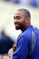 Matt Kemp #27 of the Los Angeles Dodgers before a game against the Colorado Rockies at Dodger Stadium on April 30, 2013 in Los Angeles, California. (Larry Goren/Four Seam Images)
