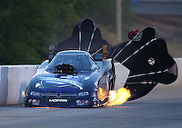 May 15, 2015; Commerce, GA, USA; NHRA funny car driver Jack Beckman on fire after an explosion during qualifying for the Southern Nationals at Atlanta Dragway. Mandatory Credit: Mark J. Rebilas-USA TODAY Sports
