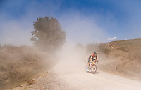 Iván García Cortina (ESP/Bahrain - McLaren) sweeping out of a dust-cloud<br /> <br /> 14th Strade Bianche 2020<br /> Siena > Siena: 184km (ITALY)<br /> <br /> delayed 2020 (summer!) edition because of the Covid19 pandemic > 1st post-Covid19 World Tour race after all races worldwide were cancelled in march 2020 by the UCI