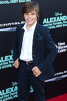 HOLLYWOOD, LOS ANGELES, CA, USA - OCTOBER 06: Lincoln Melcher arrives at the World Premiere Of Disney's 'Alexander And The Terrible, Horrible, No Good, Very Bad Day' held at the El Capitan Theatre on October 6, 2014 in Hollywood, Los Angeles, California, United States. (Photo by Xavier Collin/Celebrity Monitor)
