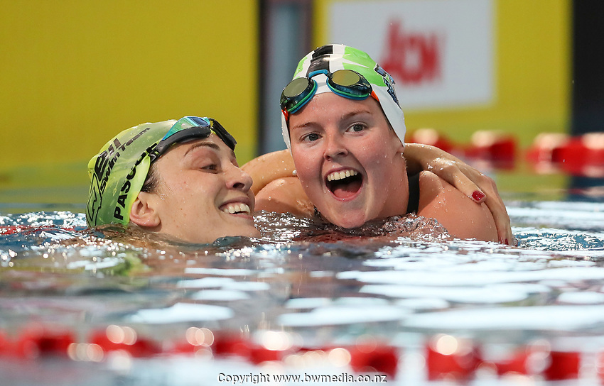Sophie Pascoe and Nikita Howarth celebrate Paralympic Qualification. Session 10 of the AON New Zealand Swimming Champs, National Aquatic Centre, Auckland, New Zealand. Friday 9 April 2021 Photo: Simon Watts/www.bwmedia.co.nz
