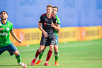 LAKE BUENA VISTA, FL - JULY 14: Robert Beric #27 of the Chicago Fire waiting on the ball during a game between Seattle Sounders FC and Chicago Fire at Wide World of Sports on July 14, 2020 in Lake Buena Vista, Florida.