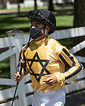 July 24,2020: Luis Saezbefore the start of the 2nd race on Quick Call day at Saratoga Race Course in Saratoga Springs, New York. Rob Simmons/Eclipse Sportswire/CSM
