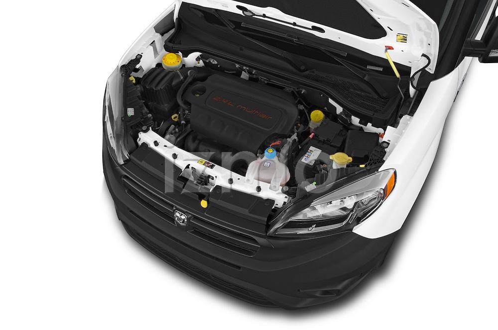 Car stock 2017 Ram Promaster City Trademans 4 Door Cargo Van engine high angle detail view