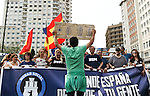 "Homeless man stands in front of the manifestation of far-right group , Hogar Social Madrid under the slogan "" Defend Spain , defend your people "", in the streets of Gran Via , San Bernardo and Plaza Dos de Mayo.  May 21, 2016. (ALTERPHOTOS/Rodrigo Jimenez)"