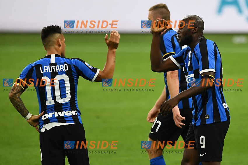 Romelu Lukaku of FC Internazionale celebrates with Lautaro Martinez of FC Internazionale after scoring the goal of 1-0 during the Serie A football match between FC Internazionale and UC Sampdoria at Stadio San Siro in Milano ( Italy ), June 21th, 2020. Play resumes behind closed doors following the outbreak of the coronavirus disease. <br /> Photo Image/Insidefoto