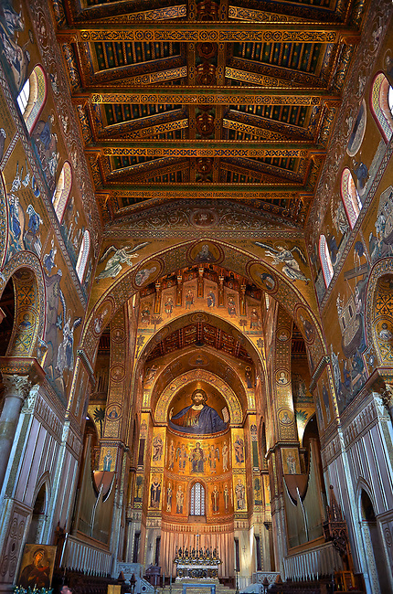 Christ Pantocrator mosaics of the Norman-Byzantine medieval cathedral  of Monreale,  province of Palermo, Sicily, Italy.