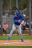 Indiana State Sycamores Max Wright (12) bats during the teams opening game of the season against the Pitt Panthers on February 19, 2021 at North Charlotte Regional Park in Port Charlotte, Florida.  (Mike Janes/Four Seam Images)
