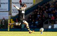 Photo: Richard Lane/Richard Lane Photography. London Wasps v Gloucester Rugby. Aviva Premiership. 01/04/2012. Wasps' Elliot Daly kicks the match winning penalty kick in the last minute of the game.