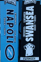Thursday 20 February 2014<br /> Pictured: Swansea and Napoli Scarves<br /> Re: Napoli Supporters visit Swansea for tonights UEFA Leauge clash