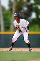 GCL Pirates right fielder Edison Lantigua (10) leads off second during a game against the GCL Phillies on August 6, 2016 at Pirate City in Bradenton, Florida.  GCL Phillies defeated the GCL Pirates 4-1.  (Mike Janes/Four Seam Images)