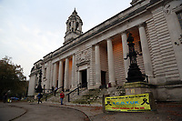A banner by Stolen Children Of The UK (S.C.O.T.UK) outside Cardiff Crown Court