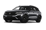 Stock pictures of low aggressive front three quarter view of 2021 Volkswagen Touareg R 5 Door SUV Low Aggressive