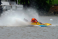 Frame 15: 300-P comes together with 911-Q, turns away and then is ejected from the boat.   (Outboard Hydroplanes)