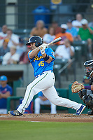 Tyler Payne (45) of the Myrtle Beach Pelicans follows through on his swing against the Winston-Salem Dash at TicketReturn.com Field on May 16, 2019 in Myrtle Beach, South Carolina. The Dash defeated the Pelicans 6-0. (Brian Westerholt/Four Seam Images)