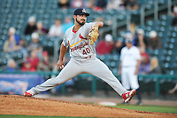 Springfield Cardinals Andrew Morales (40) throws during the game against the Northwest Arkansas Naturals at Arvest Ballpark on May 3, 2016 in Springdale, Arkansas.  Springfield won 5-1.  (Dennis Hubbard/Four Seam Images)