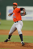 Greeneville Astros starting pitcher Francis Ramirez #64 delivers a pitch during a game against the Elizabethton Twins at Joe O'Brien Field on August 20, 2013 in Elizabethton, Tennessee. The Twins won the game 10-8. (Tony Farlow/Four Seam Images)