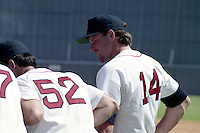 Boston Red Sox Roger Clemens (14) during spring training circa 1990 at Chain of Lakes Park in Winter Haven, Florida.  (MJA/Four Seam Images)