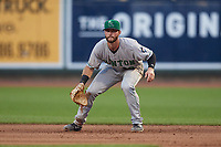 Clinton LumberKings first baseman Evan Edwards (18) during a Midwest League game against the Great Lakes Loons on July 19, 2019 at Dow Diamond in Midland, Michigan.  Clinton defeated Great Lakes 3-2.  (Mike Janes/Four Seam Images)