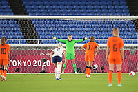 YOKOHAMA, JAPAN - JULY 30: Alyssa Naeher #1 of the United States faces a PK by Lieke Martens #11 of the Netherlands during a game between Netherlands and USWNT at International Stadium Yokohama on July 30, 2021 in Yokohama, Japan.