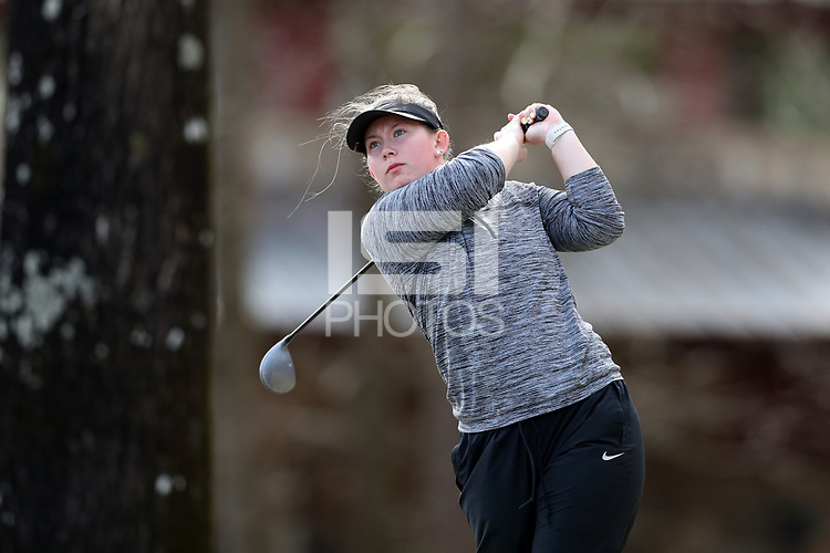 WALLACE, NC - MARCH 09: Kerri Parks of Marshall University tees off on the 16th hole of the River Course at River Landing Country Club on March 09, 2020 in Wallace, North Carolina.