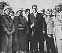 Iraq 1970  Nawperdan, Kurdistan: signature of March 11 agreement.From left to right, Masoud Barzani, Mustafa Barzani, Saddam Hussein, ? and Franso Hariri  Irak 1970 A Nawpurdan, Kurdistan, signature de l'accord du 11 mars, de gauche a droite, Masoud Barzani, Mustafa Barzani, Saddam Hussein,  ? et Franso Hariri