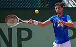Grigor Dimitrov plays in the first round at Roland Garros in Paris, France on May 29, 2012