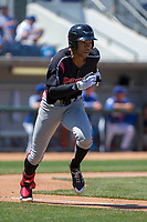 Lake Elsinore Storm Buddy Reed (23) hustles down the first base line against the Rancho Cucamonga Quakes at LoanMart Field on April 22, 2018 in Rancho Cucamonga, California. The Storm defeated the Quakes 8-6.  (Donn Parris/Four Seam Images)