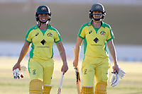 4th April 2021; Bay Oval, Taurange, New Zealand;  Australia's Ash Gardner with team mate Ellyse Perry walk from the field after their win during the 1st women's ODI White Ferns versus Australia Rose Bowl cricket match at Bay Oval in Tauranga.