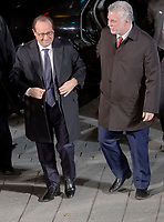 French President Francois Hollande and Quebec Premier Philippe Couillard arrives at the Premier's office in Quebec City, Monday November 3, 2014. Hollande is on day two of a three day trip to Canada.<br /> <br /> PHOTO :  Francis Vachon - Agence Quebec Presse