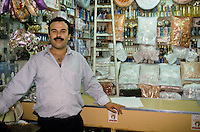 Tunisia.  Tunis Medina.  Shop Owner Chehbani Beji, Seller of Women's Beauty Products.