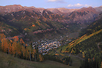Town of Telluride at night, from the ski slopes in autumn, Colorado. John offers autumn photo tours throughout Colorado.