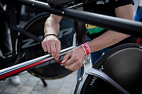 sealing of the ridden (winning) bikes > to be checked technically by the UCI on mechanical doping<br /> <br /> Women Elite Individual Time Trial from Knokke-Heist to Bruges (30.3 km)<br /> <br /> UCI Road World Championships - Flanders Belgium 2021<br /> <br /> ©kramon