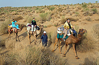 Tourists ride CAMELS in the THAR DESERT near JAISALMER - RAJASTHAN, INDIA - MR