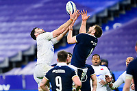 26th March 2021, Stade de France, Saint-Denis, France; Guinness 6-Nations international rugby, France versus Scotland;  Charles Ollivon (Fra) and Nick Haining (Sco) challenge for a line out ball