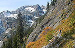 Hikers, Snow Lake Trail, Alpine Lakes Wilderness Area, Mount Baker-Snoqualmie National Forest, Cascade Mountains, Washington State, Pacific Northwest, model released,