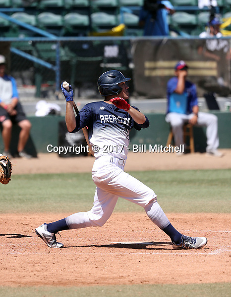 Michael Siani plays in the 2017 Area Code Games on August 6-10, 2017 at Blair Field in Long Beach, California (Bill Mitchell)