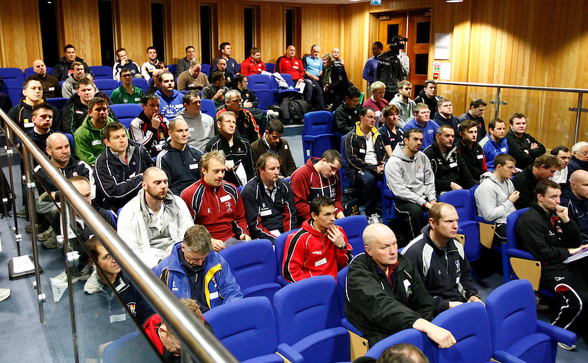 Photo: Richard Lane/Richard Lane Photography. RFU Rugby Fitness for Young Players Ð a pilot continuing professional development event at Warwick School. 06/01/2011. .Rugby Fitness for Young Players Lecture.