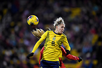 COLUMBUS, OH - NOVEMBER 07: Lina Hurtig #8 of Sweden leaps for a head ball during a game between Sweden and USWNT at MAPFRE Stadium on November 07, 2019 in Columbus, Ohio.