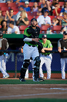 Kane County Cougars catcher Tim Susnara (1) during a Midwest League game against the Dayton Dragons on July 20, 2019 at Northwestern Medicine Field in Geneva, Illinois.  Dayton defeated Kane County 1-0.  (Mike Janes/Four Seam Images)