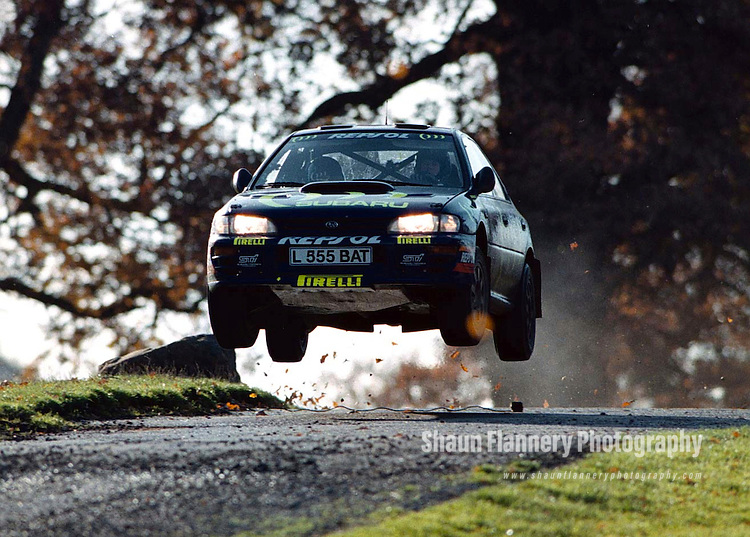 Pix: Shaun Flannery/shaunflanneryphotography.com...COPYRIGHT PICTURE>>SHAUN FLANNERY>01302-570814>>07778315553>>..23rd November 1997..............Colin McRae and co driver Nicky Grist driving a Subaru Impreza flat out over a 'yump' at Chatsworth House on their way to victory in the 1997 Network Q RAC Rally.