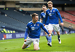 St Mirren v St Johnstone…09.05.21  Scottish Cup Semi-Final Hampden Park <br />Glenn Middleton celebrates his stunning free kick which made it 2-0 to St Johnstone<br />Picture by Graeme Hart.<br />Copyright Perthshire Picture Agency<br />Tel: 01738 623350  Mobile: 07990 594431