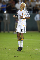 Los Angeles Galaxy Abel Xavier (17) reacts after missing the final penalty kick during the SuperLiga finals between the Los Angeles Galaxy of MLS and CF Pachuca of FMF at the Home Depot Center, Carson, CA, on August 29, 2007. Pachuca wins 4-3 on penalty kicks after the game finished in a 1-1 tie.