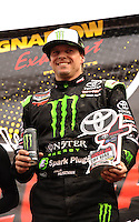 18-20 March 2011, Chandler, Arizona, USA Rick Huseman, trophy, winner, celebration, Toyota Tundra ©2011, Mark J. Rebilas