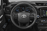 Car pictures of steering wheel view of a 2021 Toyota Hilux Invincible 4 Door Pick-up Steering Wheel